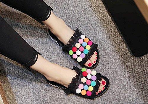 de DANDANJIE Mezclilla Peluche de Punta caseros Zapatos Mujer Deslizadores Negro de para Chancleta floreada cómodos Chancleta Color Abierta Deslizador de de Verano Caramelo pY0nwErpAq
