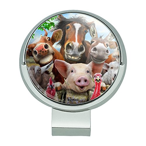 GRAPHICS & MORE Farm Selfie Horse Pig Chicken Donkey Cow Sheep Golf Hat Clip with Magnetic Ball Marker (Cow Marker Golf Ball)