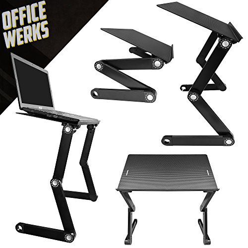 Officewerks Adjustable and Portable Computer Laptop Stand/Desk with Mouse Pad, Ergonomic Design for Improved Posture, Strong Aluminum Legs and Tray Supports and Cools Your Notebook/MacBook