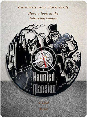 Haunted Mansion vinyl clock, vinyl wall clock, vinyl record clock horror fantasy comedy walt disney eddie murphy wall art home decor kids gift 163 - (a2) (Clocks Wall Disney)