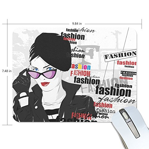 Personalized Mouse Pad Large Rectangle Gaming Mouse Pad Style Rubber Mousepad with Sunglasses Fashionable Woman in 9.84