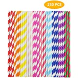 Finico 250 Pieces Paper Straws Drinking Decoration Straw for Birthday Parties, Weddings, Christmas, Celebration Parties etc. (10 Color)