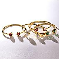 Birthstone Cuff Bracelet Birth Month Crystal Bangle Fashion Jewelry Women and Girls Birthday Gift
