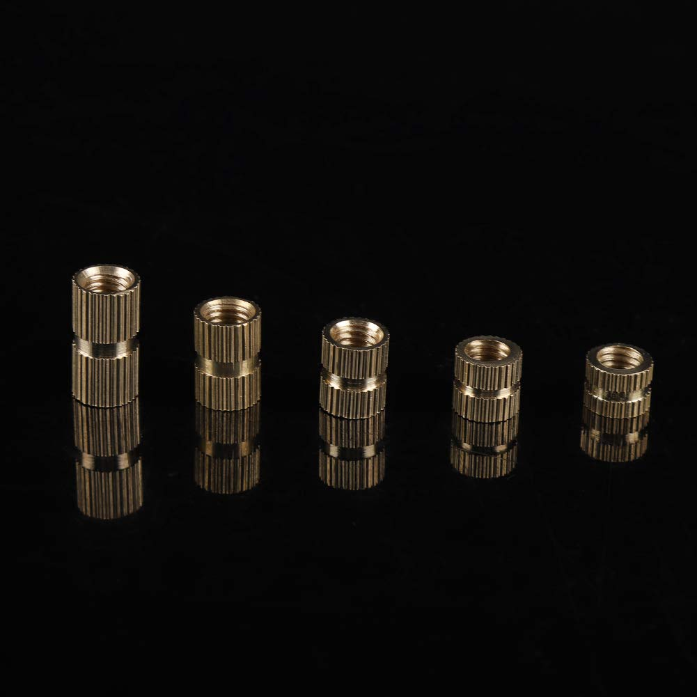 Akozon Gewindeeinsatz Einbettung Muttern R/ändelmutter 140pcs M6 Messing Zylinder ger/ändelt Gewinde runden Einsatz eingebetteten Muttern