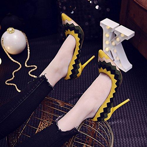 Pelle 9cm Femminile Ha Nera Profonda Sexy Eleganti Sposa Sottolineato Da Scarpe Poco Gialla Scarpe Alti Scamosciata toe Moda Bocca Tacchi Udq7U