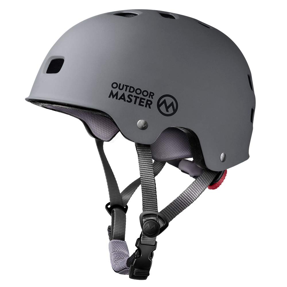 OutdoorMaster Skateboard Helmet - CPSC Certified Lightweight, Low-Profile Skate & Freestyle BMX Helmet with Removable Lining - 12 Vents Ventilation System - for Kids, Youth & Adults - L - Grey