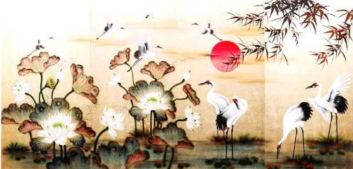 """Vietnamese Lacquer Paintings - 32"""" x 62"""" Cranes and White Lotus - LPB417"""