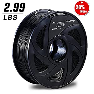 3D MARS Black 3D Printing Filament,1.75mm 3D Printer PLA Filament,Dimensional Accuracy +/- 0.05mm,1.2kg Spool 1.75 mm Filament PLA 3D Filament for Most 3D Printer & 3D Pen by 3D MARS
