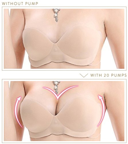 #1 Best Seller Backless Push Up Bra with Inflatable Cups for Perfect Cleavage (Size E, Nude)