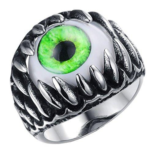 Eyeball Ring (PAURO Men's Stainless Steel Dragon Claw Evil Devil Skull Eyeball Ring Gothic Biker Unique Green Eyes Size 9)