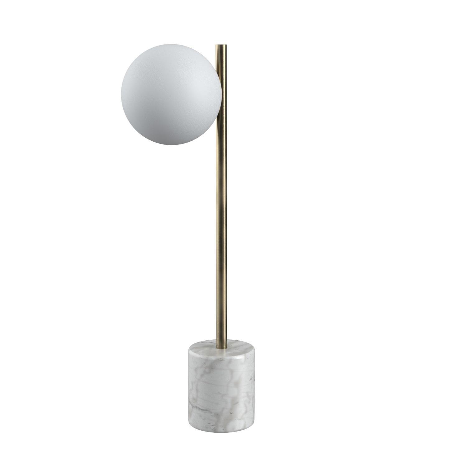 Rivet Modern Glass Globe and Marble Table Lamp with LED Bulb, 23''H, Brass, White by Rivet (Image #9)
