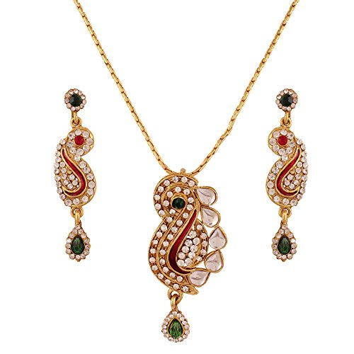 Variation Designer Enamel Kundan Pendant Set For Women - VD13895