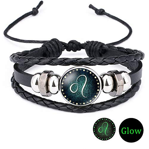 Giwotu Womens Handmade 12 Zodiac Signs Glass Cabochon Braided Leather Glow Bracelets 12 Constellation Men Beaded Charm Punk Style Noctilucence Jewelry Leo