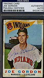 JOE GORDON 1960 TOPPS HAND SIGNED PSA/DNA ORIGINAL AUTHENTIC AUTOGRAPH