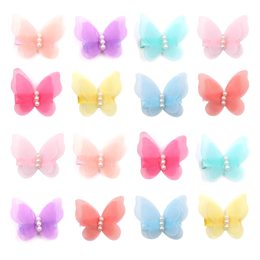 Zapire 16 Packs Baby Girl Hair Clips Chiffon Non-slip Butterfly Clips Barrettes for Girls Baby Kids Children Toddlers Hair Accessories (16 packs)