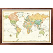 32x50 Rand McNally World Classic Wall Map Framed Edition