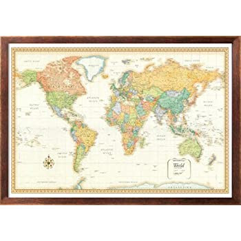 Amazon rand mcnally world wall map m series 32x50 framed 32x50 rand mcnally world classic wall map framed edition gumiabroncs