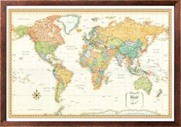 Amazon 32x50 rand mcnally world classic wall map framed 32x50 rand mcnally world classic wall map framed edition gumiabroncs Choice Image