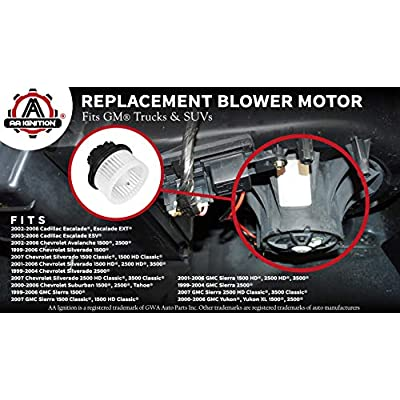 AC Heater Blower Motor HVAC - Fits Chevy Avalanche, Silverado 1500, Tahoe, Suburban, GMC Sierra 2500, Yukon XL 1500, Escalade - Replaces 35143, 1581647, PM2728, 15-81647, 89019321 - Air Conditioning: Automotive