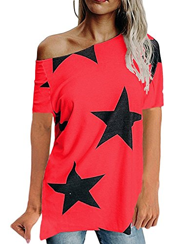 Pentagramme Impression Casual Courte T paule Femmes Tops Chemise Rouge Une Manche Shirt 8wZzCC6xq