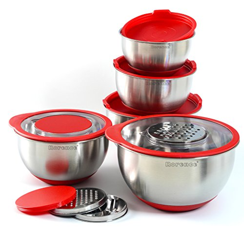 Rorence Stainless Steel Mixing Bowl Set of 5 with 3 Graters & Transparent Lids - Red