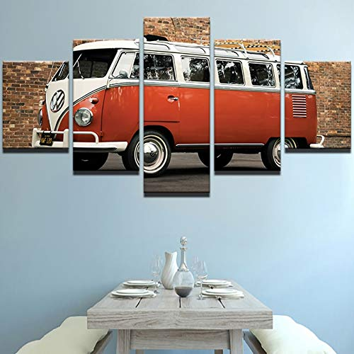 HENANFSLY 5 Pieces Hd Printed Modern Painting Home Decor Canvas Posters Red Retro Car Red Minibus Picture for Living Room Wall Art Bedroom