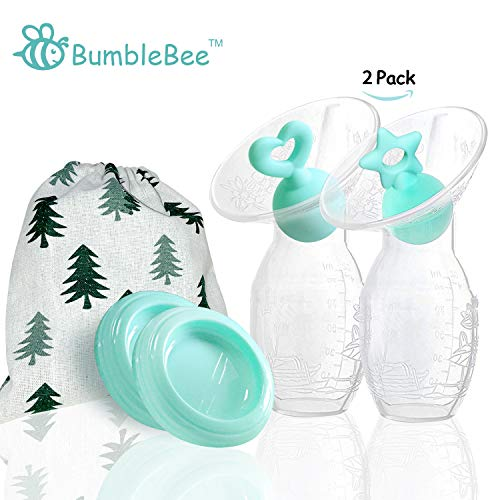 Bumblebee Manual Breast Pump with 2 Pack Breastfeeding Milk Saver Green Star &Heart Stopper& lid in Gift Box Silicone Breastpump 100% Food Grade Silicone bpa PVC and Phthalate Free