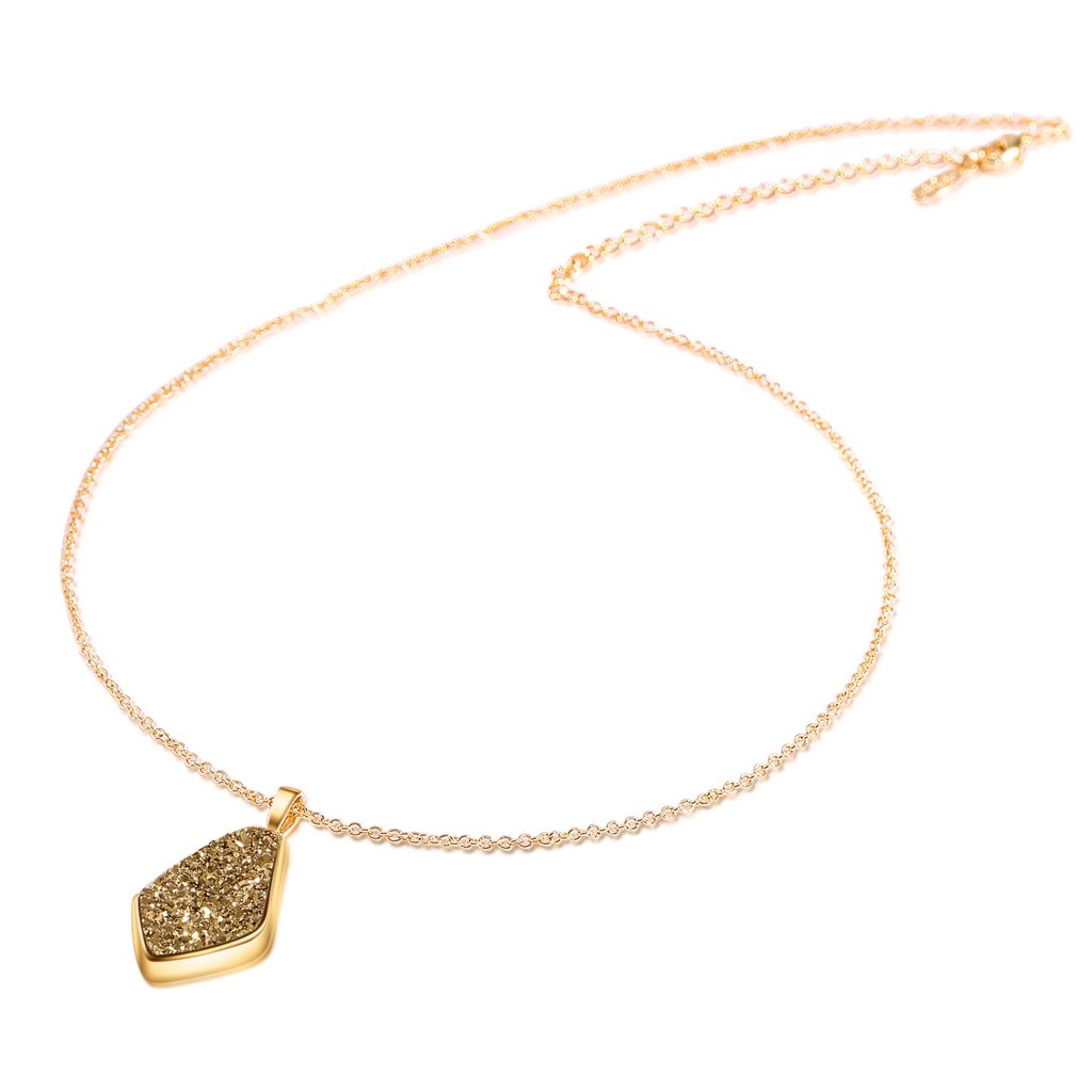 JOY AND ELAINE Drusy Quartz Teardrop Pendant Necklace with Gold-Plated over Brass, 16 3 Extender