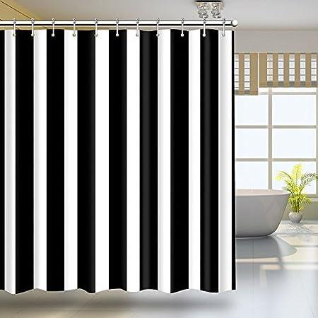 Striped Shower Curtain Liner Ticking Stripe Homie Black White Vertical Stripes Amazoncouk Kitchen Home