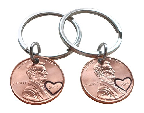 Double Keychain Set 2005 US One Cent Penny Keychains with Heart Around Year; 13 Year Anniversary Gift, Hand Stamped Couples Keychain