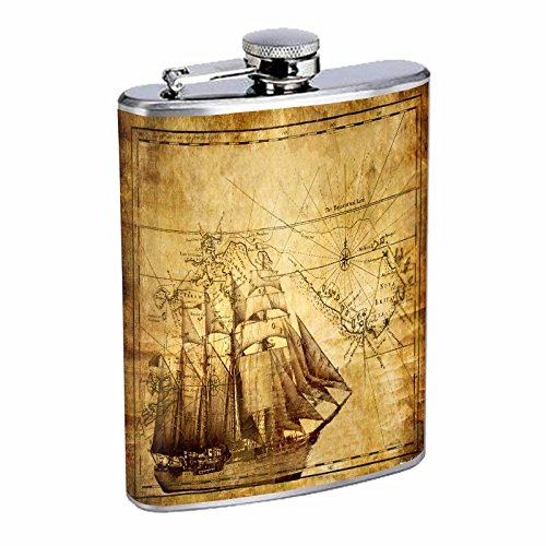 Flask Vintage Pirate Ship S5 Stainless Steel 8oz Hip Silver Alcohol Brandi Whiskey Drinking Ghost Treasure Captain Boat Map High -