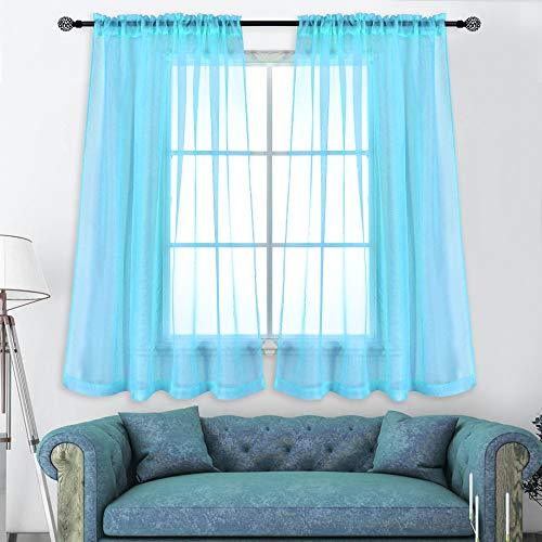 KEQIAOSUOCAI 2 Pieces Sky Blue Sheer Curtains Panels for Bedroom Rod Pocket Sheer Window Drapes for Living Room 52Wx63L (Blue For Wall Color Sky Curtain)
