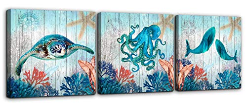 Mofutinpo Bathroom Decor Sea Turtle Octopus Whale Canvas Wall Art Ocean Beach Coast Theme Canvas Picture Artwork Ready to Hang for Home Kid Girls Room Bedroom Wall Decoration Size 14x14 3 Piece