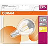 OSRAM - 4058075809000 - Ampoule LED Filament Sphérique Calotte Argentée - 4W Equivalent  34W - Culot E14 - Blanc chaud 2700k - Lot de 1