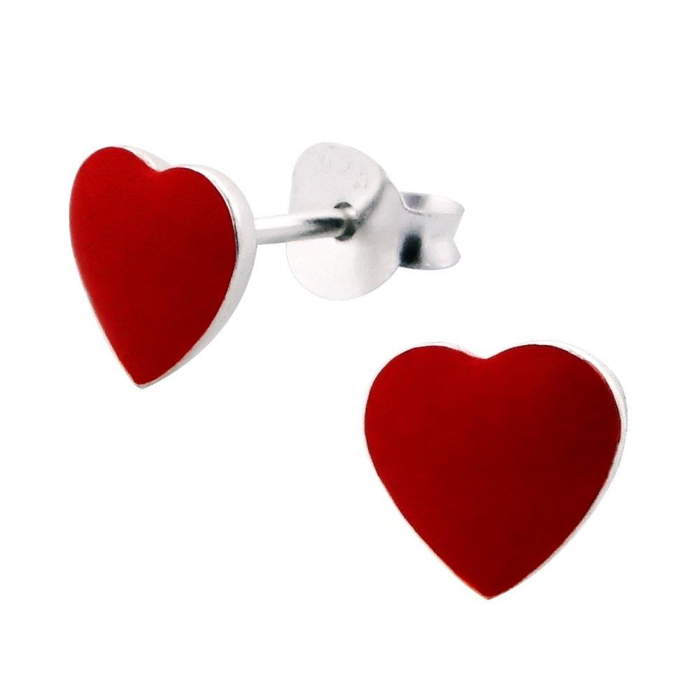 Ohrstecker Ohrring Herz Herzchen rot Symbol der Liebe aus Sterling Silber 925