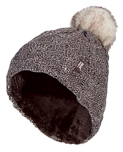 HEAT HOLDERS - Womens Thick Knit Thermal Winter Warm Beanie Hat with Pom Pom (One Size, Fawn)