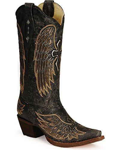 Corral Women's Angel Wing Cross Cowgirl Boot Snip Toe Bla...