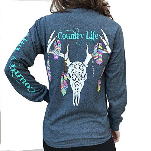 Country Life Feather Deer Skull Dark Heather Gray Long Sleeve Shirt