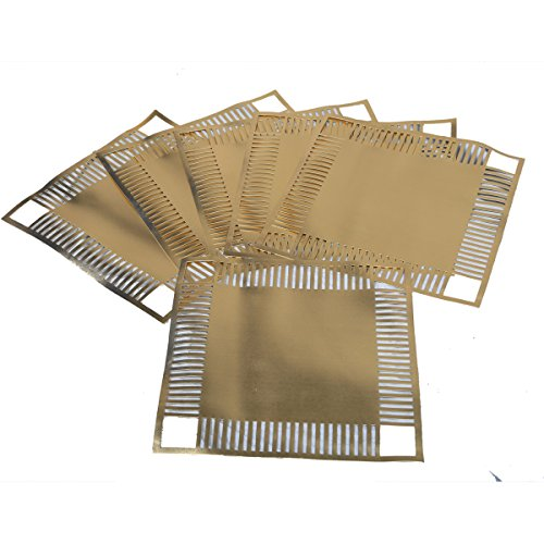Kuber Industries Square Dining Table Placemats Set of 6 Pcs in Thick Imported Waterproof Fabric (Golden) Exclusive Product