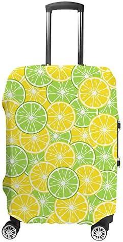 スーツケースカバー トラベルケース 荷物カバー 弾性素材 傷を防ぐ ほこりや汚れを防ぐ 個性 出張 男性と女性明るいトロピカルフルーツ