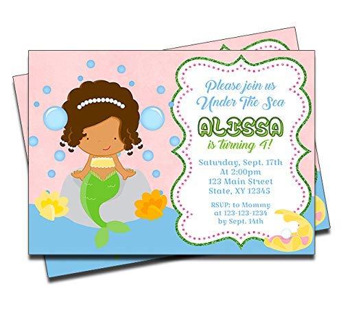 Mermaid Personalized Birthday Invitations (12 Ct) Pool Party Invites