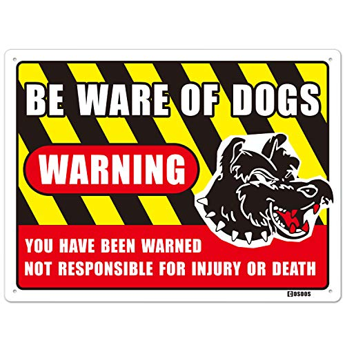 COSOOS Warning Beware of Dogs Sign, Metal Aluminum Large 15.7X 11.8 Inch Rust Free UV Printed Reflective Weatherproof 40Mil Thick, Yard Guard Dog Warning Sign, Dog on Premises Sign for Indoor Outdoor