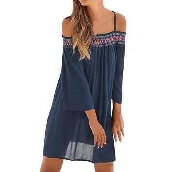 Qiusa Vestido Largo con Boquilla de Playa con Manga Larga y Hombros Descubiertos para Mujer (Color : Navy, tamaño : Medium): Amazon.es: Hogar