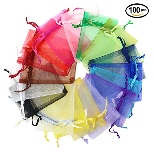 Lalago 100 Pcs Organza Wedding Favour Bags Gift Mini Jewelry Bags (Mixture) (Mini Sachet)