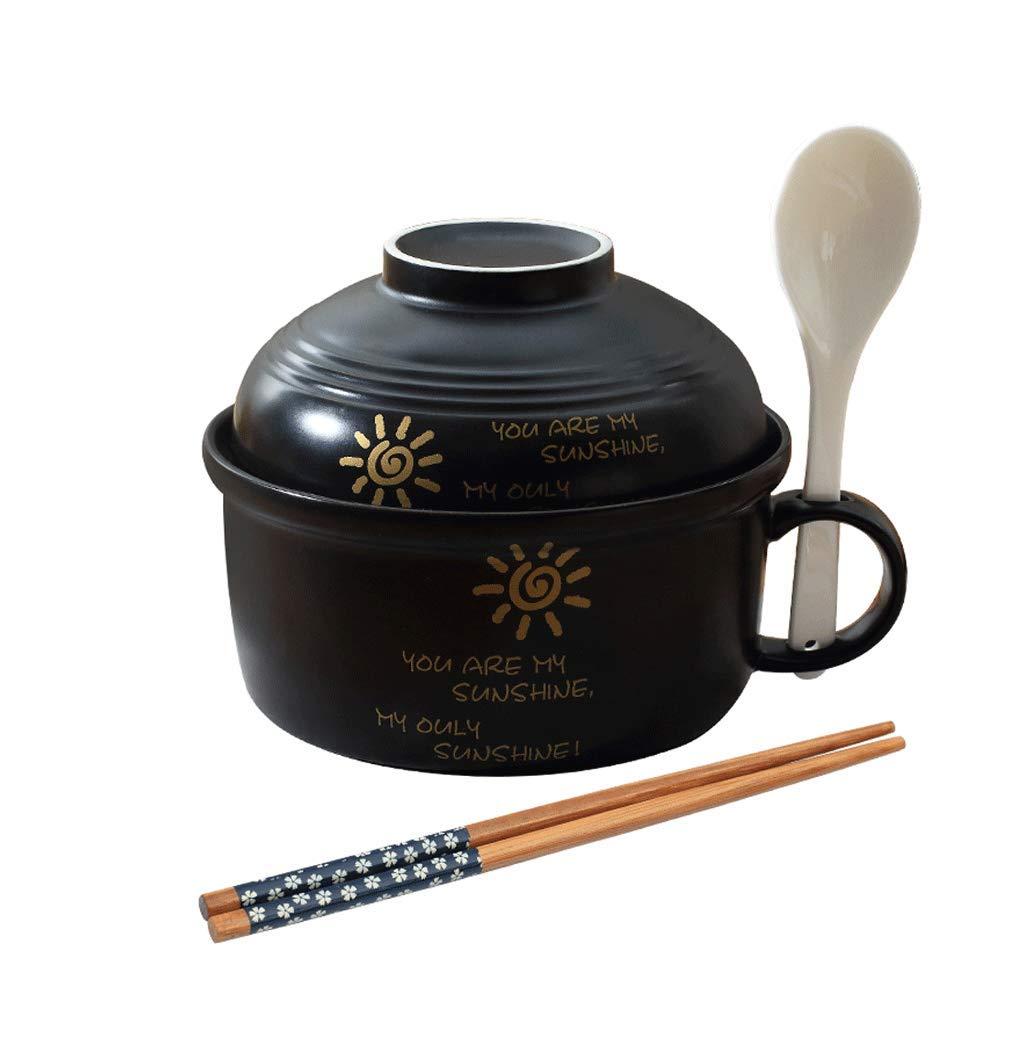 Ciotola di Ceramica Carina con Coperchio in Stile Giapponese Ciotola di zuppa di Ramen Dipinta a Mano Set da tavola Nero (Disponibile in forni a microonde) Happiness tableware