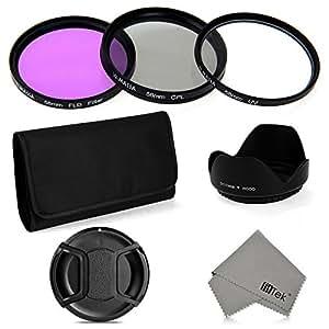 Crazo Set 5 Filtros CPL FLD UV + Tapa de Objetivo Lente + Parasol 58mm Accesorios