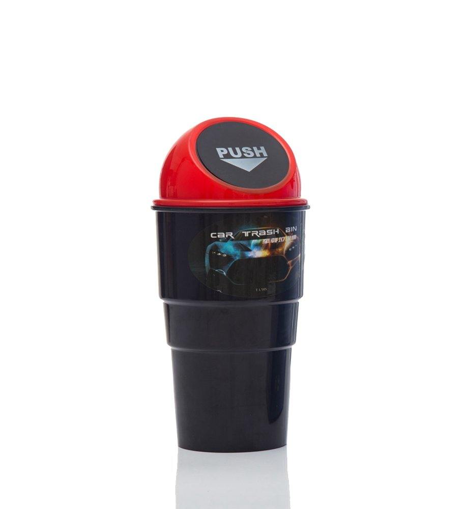 Multill Car Vehicle Mini Push Trash Can Home Office Desktop Table Mini Garbage Can Red