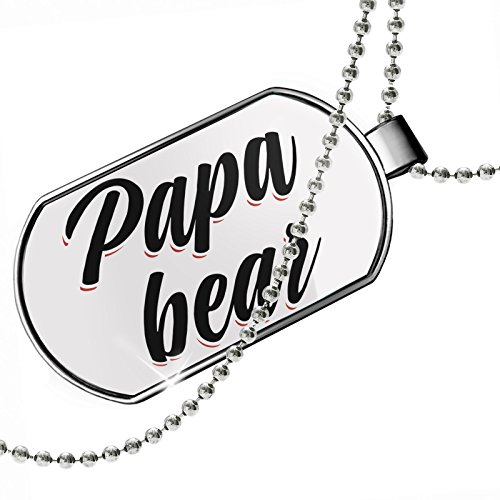 NEONBLOND Dogtag Vintage Lettering Papa Bear Dog Tags Necklace