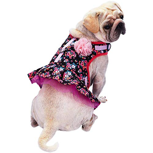 Blueberry Pet 5 Patterns Soft & Comfy Spring Made Well Elegant Floral No Pull Mesh Dog Costume Harness Dress in Sleek Black, Chest Girth 19