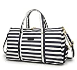 Elenture Weekender Tote Bag Leather Travel Duffel Bag Overnight Carry Bag (Navy Blue/White Stripe)